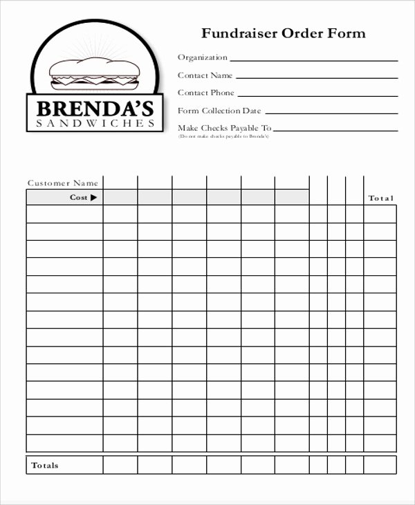 Fundraiser order form Template Free New 9 Sample Fund Raiser order forms