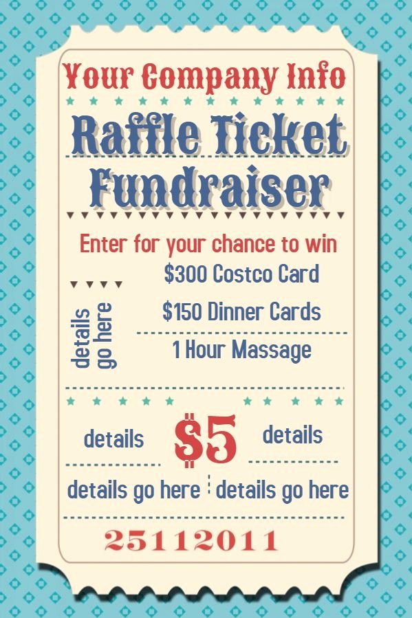 Fundraiser Ticket Template Free Best Of Raffle Flyer Poster Template
