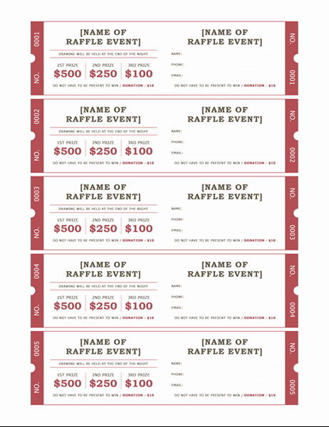 Fundraiser Ticket Template Free Elegant Raffle Tickets