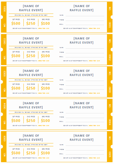 Fundraiser Ticket Template Free Lovely Free Printable Raffle Ticket Templates