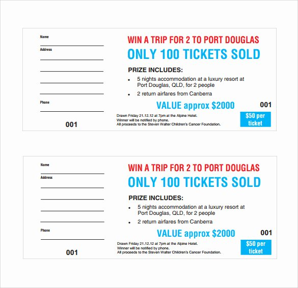 Fundraiser Ticket Template Free Lovely Sample Raffle Ticket Template 20 Pdf Psd Illustration