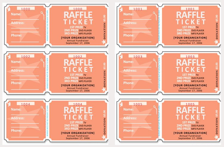 Fundraiser Ticket Template Free Unique 45 Raffle Ticket Templates