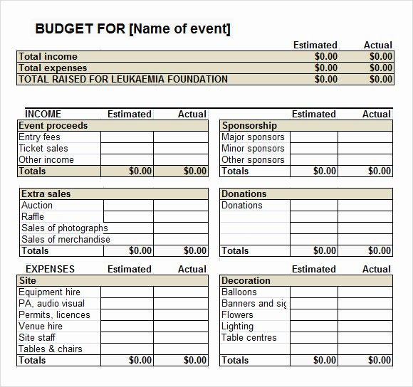 Fundraising event Planning Template Beautiful 7 event Bud Templates
