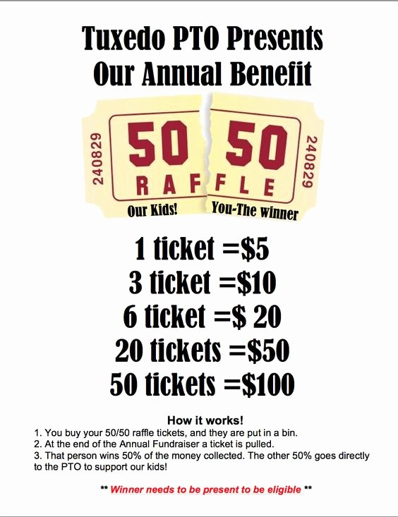 Fundraising Ticket Template Free Awesome 50 50 Raffle Fundraiser Flyer Hla Pinterest