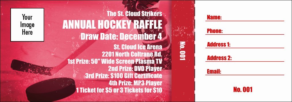 Fundraising Ticket Template Free Beautiful Hockey Fundraiser Red Raffle Ticket