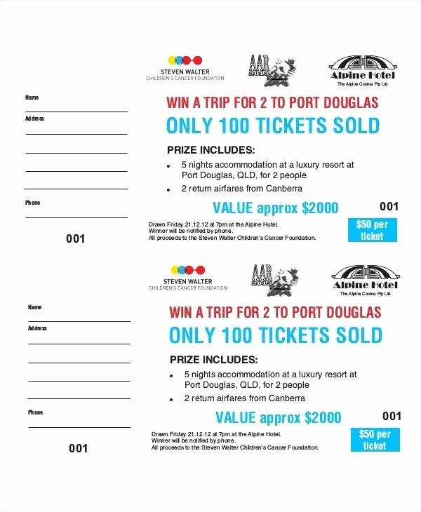 Fundraising Ticket Template Free Lovely Superb Word Ticket Template with Fundraiser Tickets Free