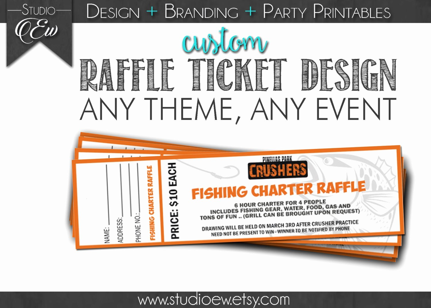 Fundraising Ticket Template Free Luxury Custom Raffle Ticket Design Any event Any theme Fundraiser