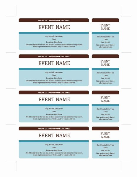 Fundraising Ticket Template Free Luxury event Tickets Templates Fice