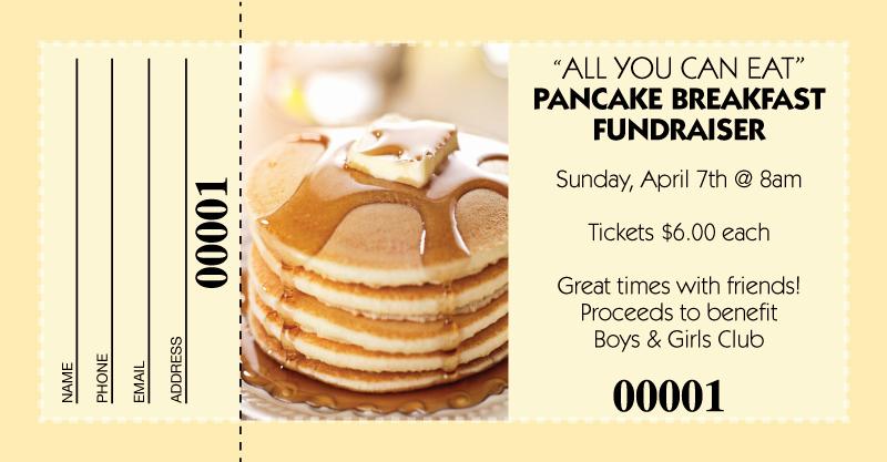 Fundraising Ticket Template Free Luxury Pancake Breakfast Raffle Tickets