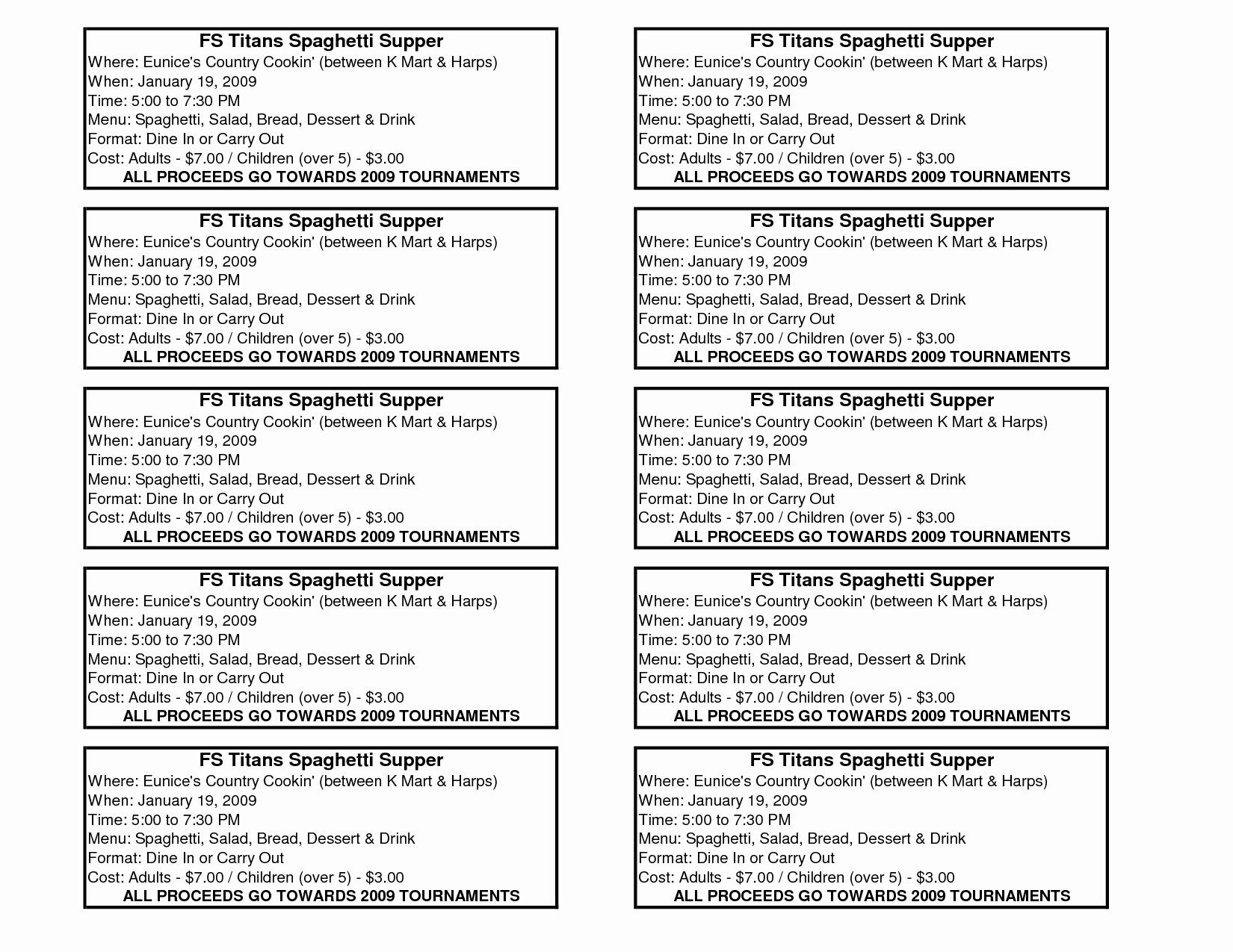 Fundraising Ticket Template Free New 8 Best Of Spaghetti Dinner Fundraiser Ticket