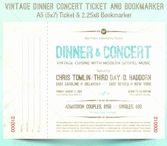 Fundraising Ticket Template Free Unique Fundraiser Dinner Tickets Template – Flybymedia