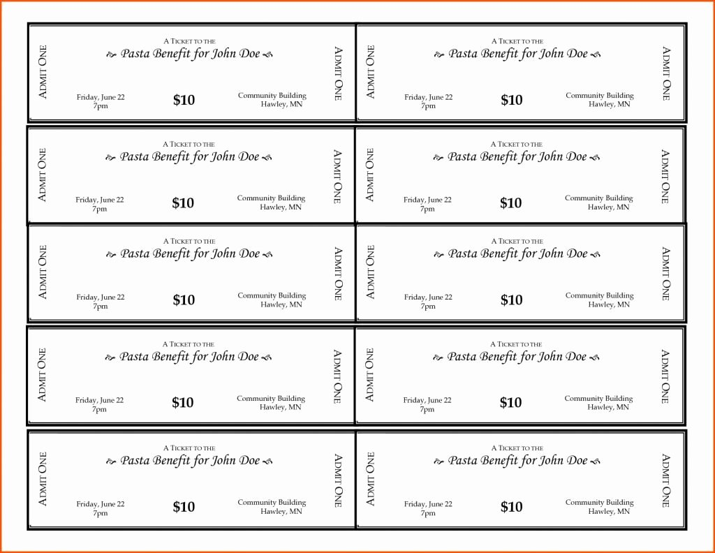 Fundraising Ticket Template Free Unique Fundraiser Ticket Template Lorgprintmakers