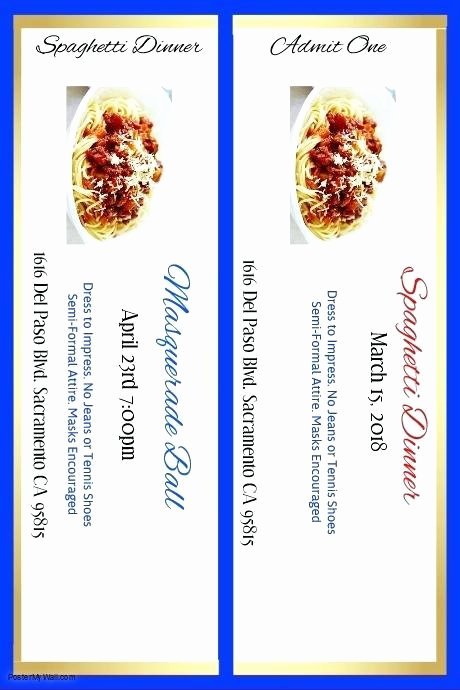 Fundraising Ticket Template Free Unique Spaghetti Dinner Fundraiser Ticket Printable Template Free