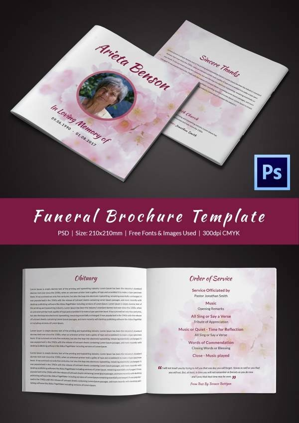 Funeral Brochure Template Free Awesome 31 Funeral Program Templates – Free Word Pdf Psd