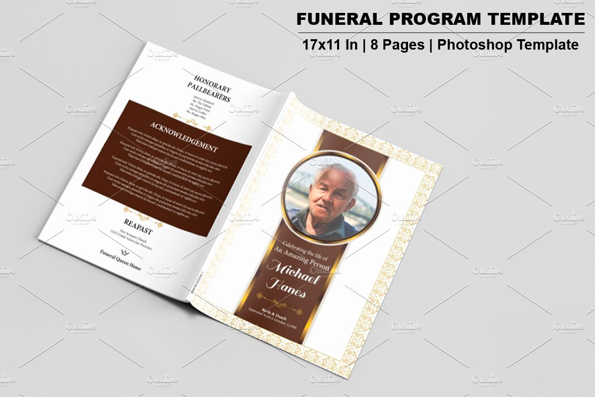Funeral Brochure Template Free Awesome Funeral Program Template 8 Page V533 Brochure Templates