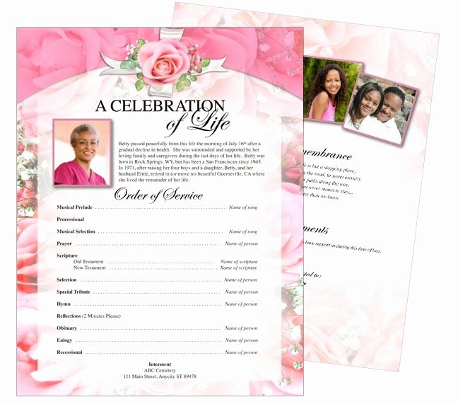 Funeral Brochure Template Free Awesome Printable Funeral Memorial Flyers Samples E Page