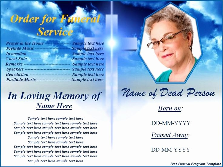 Funeral Brochure Template Free Lovely Free Funeral Program Templates