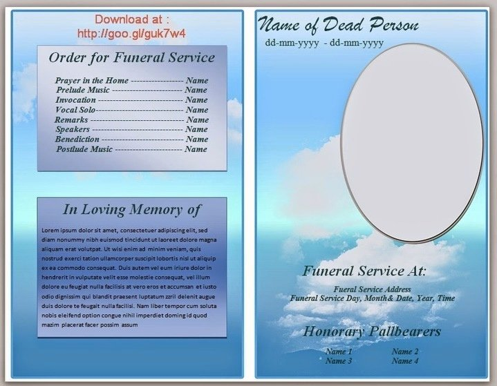 Funeral Service Outline Template Awesome Blue themed Funeral Program Template In Microso