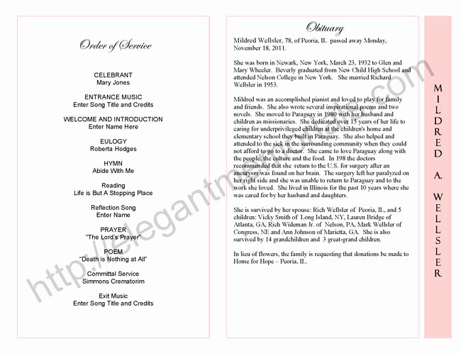 Funeral Service Outline Template Awesome Celebration Of Life Service Program Sample