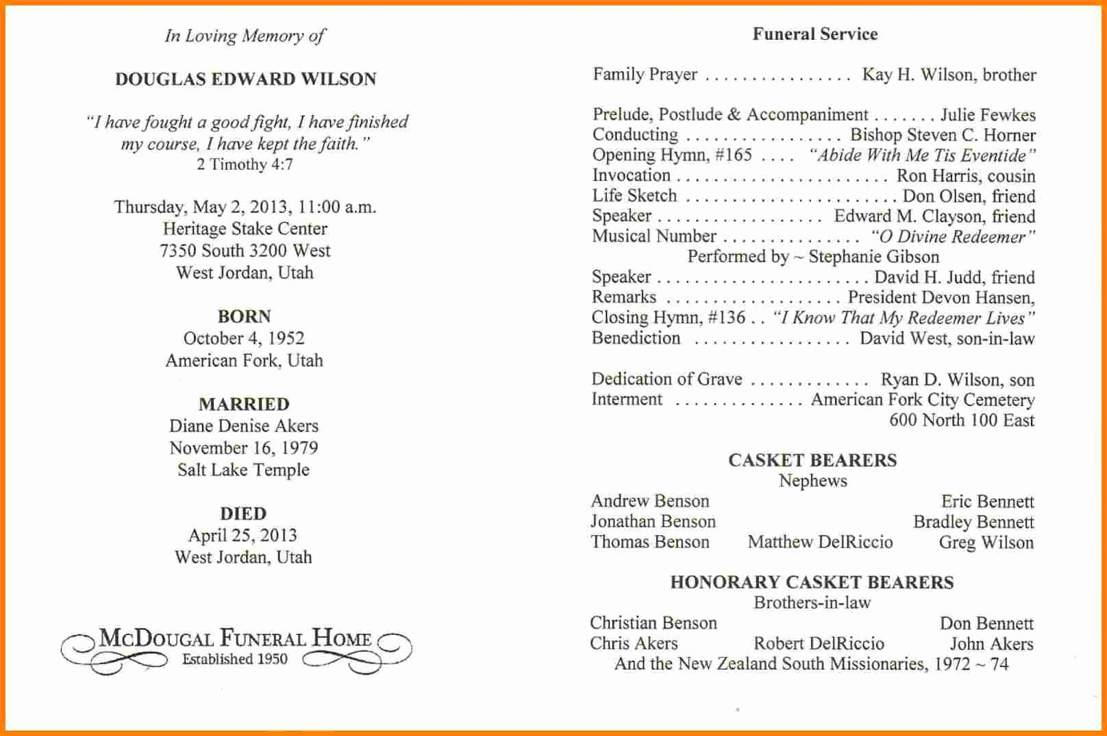 Funeral Service Outline Template Fresh Funeral Service Outline Funeral Memorial Service Sermons