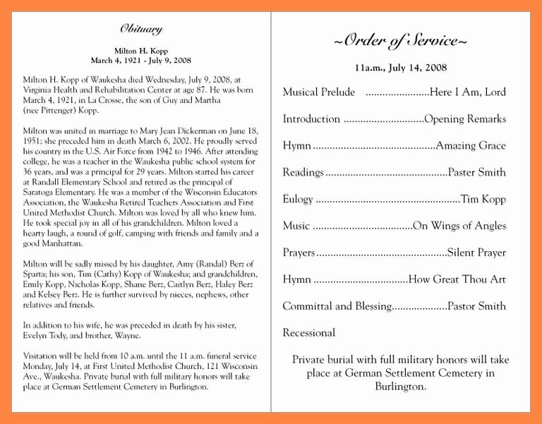 Funeral Service Outline Template Inspirational 15 Funeral Services Outline