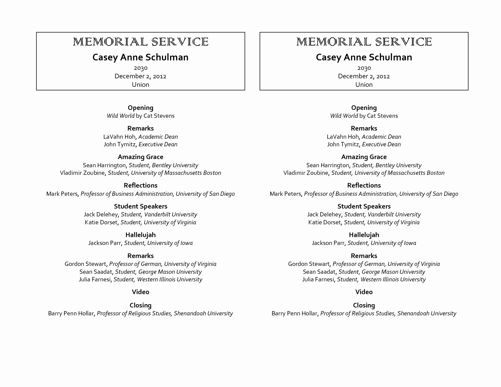 Funeral Service Outline Template Inspirational 9 Best Of Free Printable Memorial Program Template