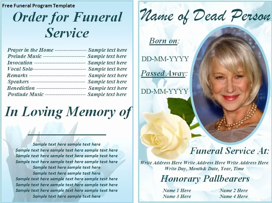 Funeral Service Outline Template Inspirational Free Funeral Program Templates
