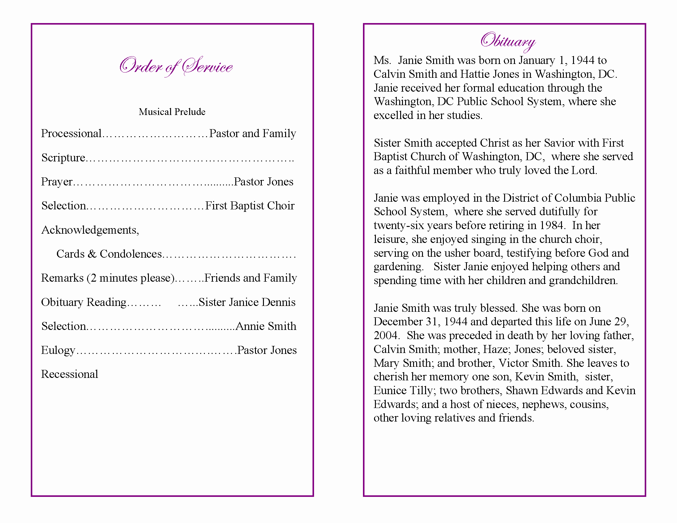 Funeral Service Outline Template Lovely 9 Best Of Sample Obituary Funeral Program Templates