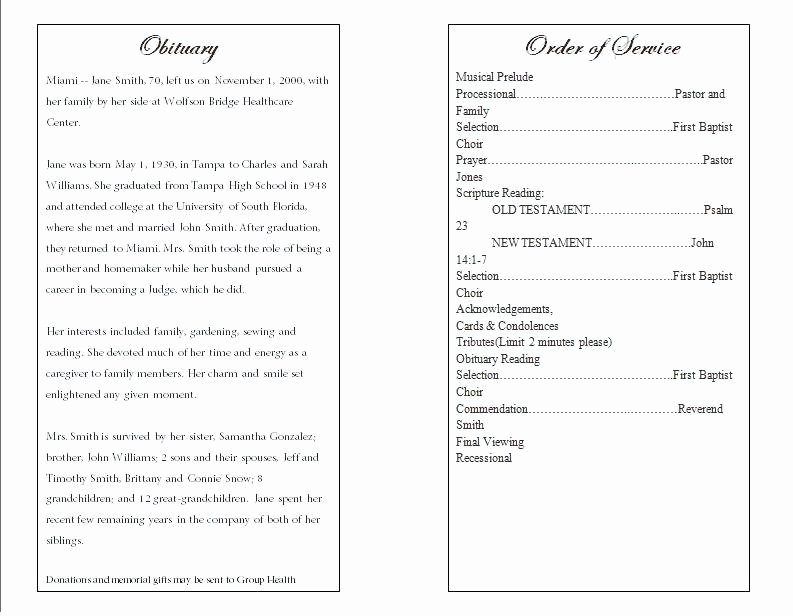 Funeral Service Outline Template Lovely Funeral order Service Template Cremation Beloved