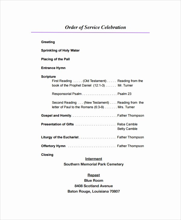 Funeral Service Outline Template Lovely Sample Funeral Program format Template 6 Free Documents