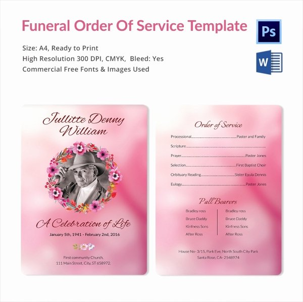 Funeral Service Outline Template Luxury 5 Funeral order Of Services Word Psd format Download