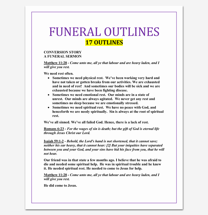 Funeral Service Outline Template Luxury Sermon Outline Template 12 for Word and Pdf format