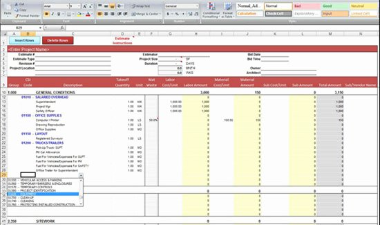General Contractor Estimate Template Best Of General Construction Estimate Spreadsheet