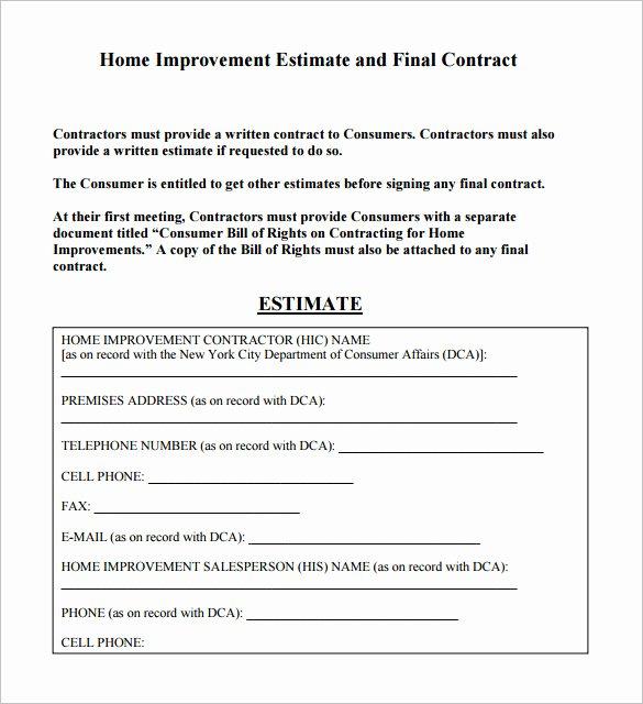 General Contractor Estimate Template Elegant 6 Contractor Estimate Templates Pdf Doc