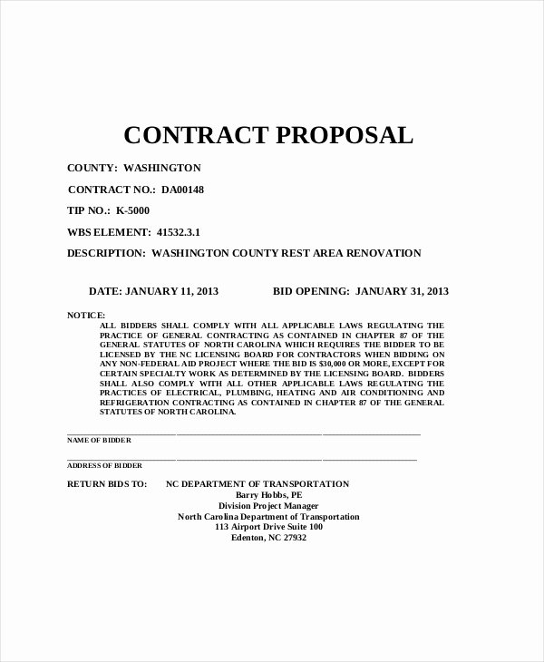 General Contractor Estimate Template Elegant Sample Contractor Proposal forms 7 Free Documents In
