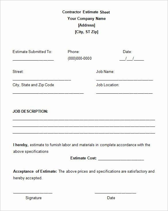 General Contractor Estimate Template Fresh 6 Contractor Estimate Templates Pdf Doc