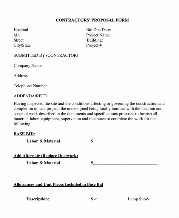 General Contractor Estimate Template Inspirational Contractor Proposal Template 13 Free Word Document