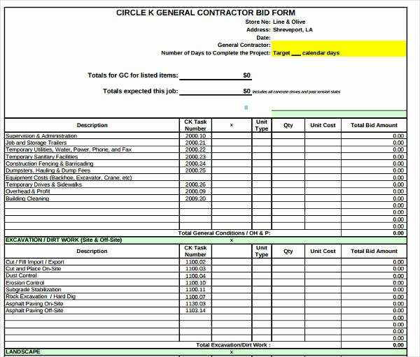General Contractor Estimate Template Lovely 7 Free Contractor Bid form Examples Pdf