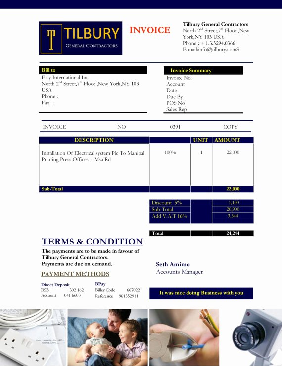 free contractor invoice template samples