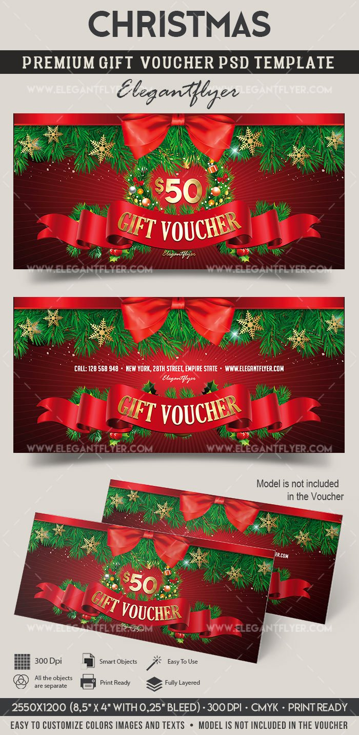 Gift Card Template Psd Best Of Christmas – Premium Gift Certificate Psd Template – by