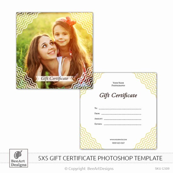 Gift Card Template Psd Elegant 5x5 Gift Certificate Psd Shop Template for