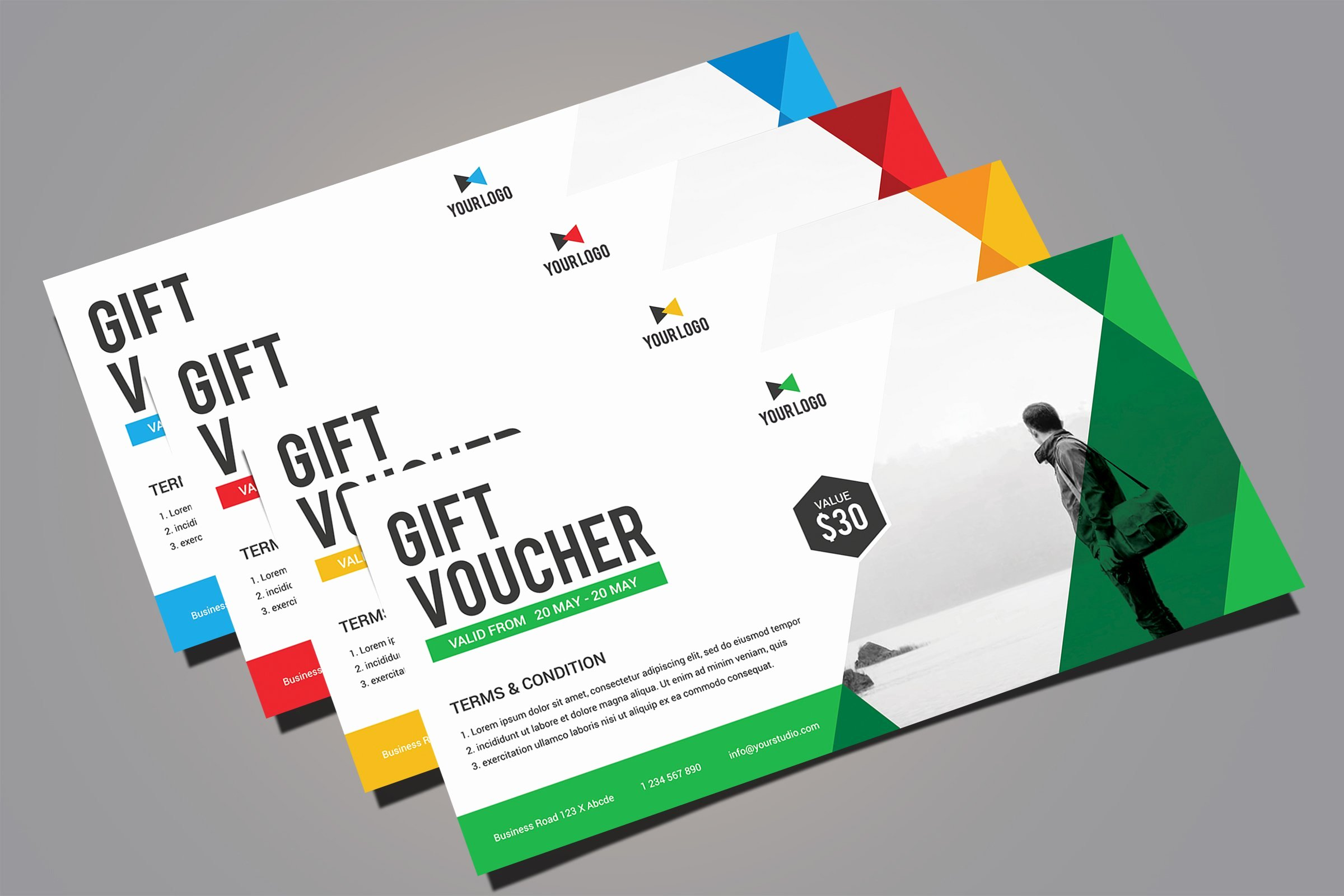 Gift Card Template Psd Unique Gift Voucher Card Templates Creative Market