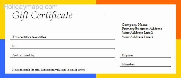 Gift Certificate Template Word Free Beautiful Free T Certificate Template Holidaymapq
