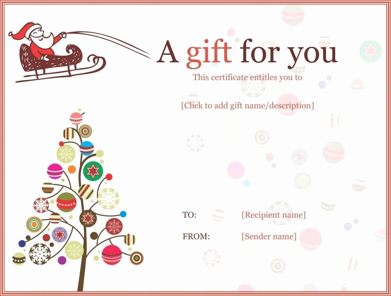 Gift Certificate Template Word Free Best Of Christmas Gift Certificate Templates Printable