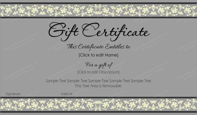 Gift Certificate Template Word Free Elegant Beauty In Gray Gift Certificate Template Get Certificate