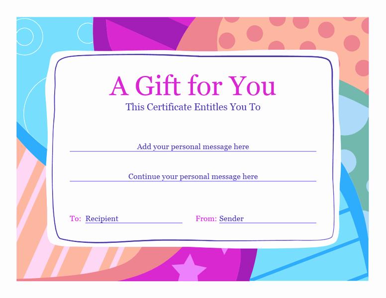 Gift Certificate Template Word Free Elegant Birthday Gift Certificate Template Word 2010 Free