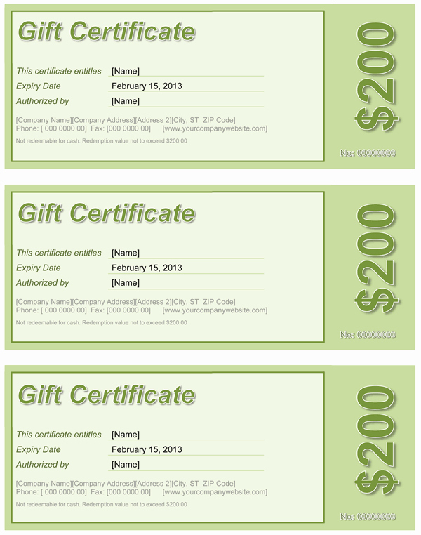 Gift Certificate Template Word Free Lovely Gift Certificate