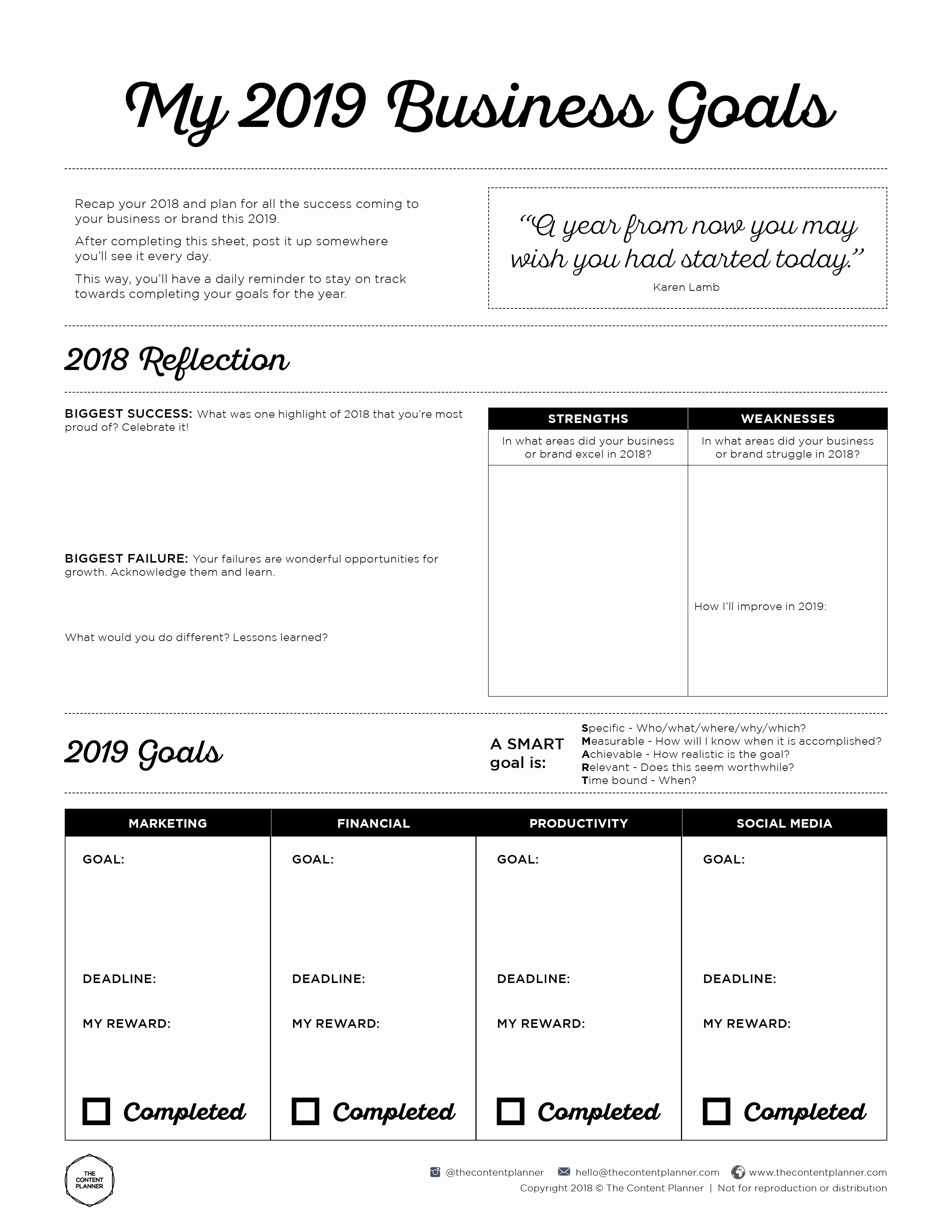 Goal Setting Worksheet Template Beautiful 2019 Business Goal Setting Worksheet Printable Free Pdf