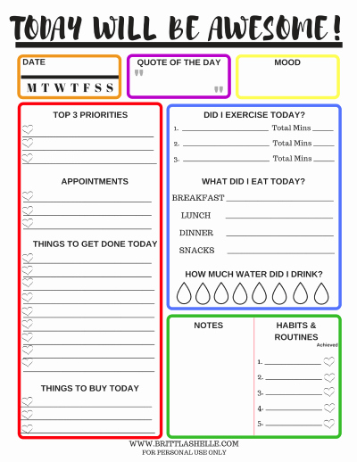 Goal Setting Worksheet Template Inspirational Setting Goals Free Daily Goals Worksheets In 7 Colors