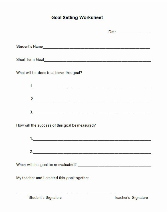 Goal Setting Worksheet Template Luxury 8 Goal Setting Worksheet Templates – Free Word Pdf